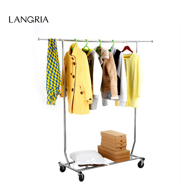 new chrome finish langria collapsible adjustable single rail rolling garment rack clothing rack drying rack