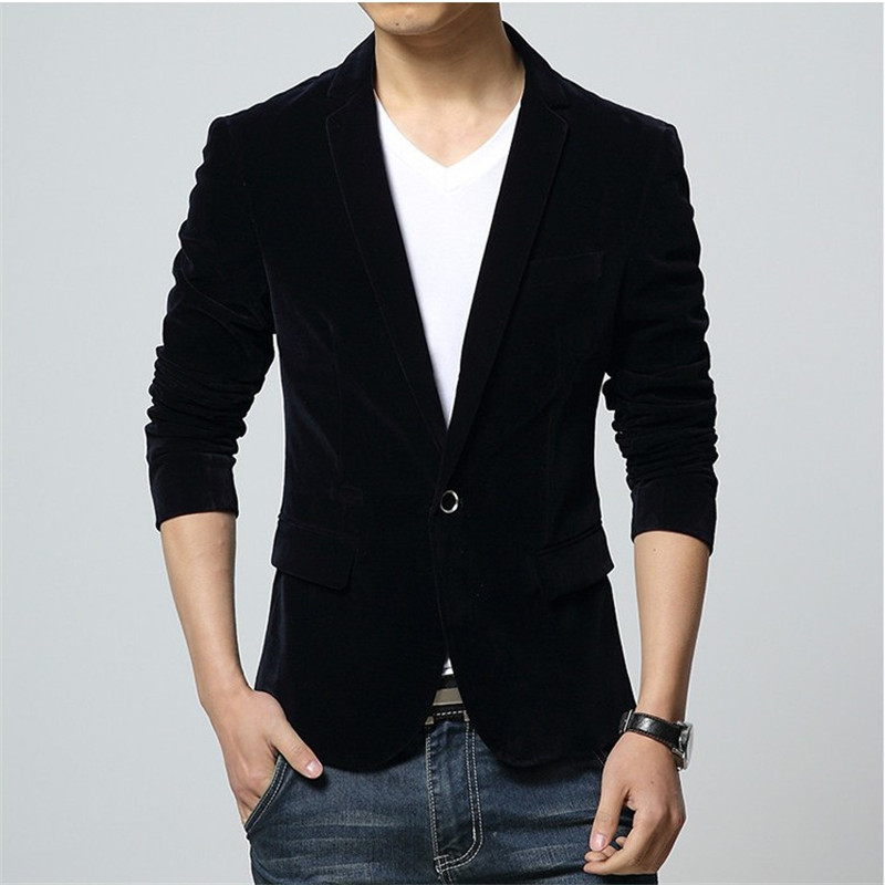 2019 New Fashion Brand Male Winter Business Suit Jacket Coat Retro Style Slim Fit Corduroy Blazer Men Casual