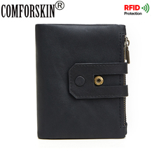 COMFORSKIN Brand 2018 RFID Short Men Wallets Luxurious Genuine Leather Vintage Folio Business Hot Coin Purses Large Capacity