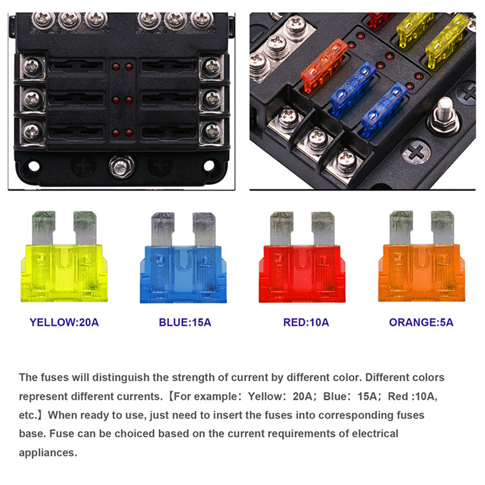 dropshipping 12 24v universal boat fuse panel with led warning indicator damp proof cover st 6 way fuse block for car boat in fuses from automobiles  [ 1000 x 1000 Pixel ]