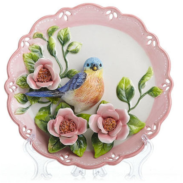 creative handmade painted emboss bird flower decorative hanging plate ceramic wall plate modern home decoration ornaments  sc 1 st  AliExpress.com & creative handmade painted emboss bird flower decorative hanging ...