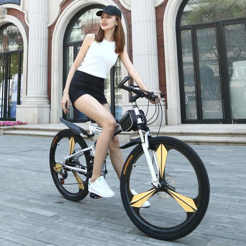 HTB1kcdLXeYCK1JjSZFtq6zcCVXa8 26 inch mountain bike 21 speed Folding mountain bicycle double disc brake bike New folding mountain bike Suitable for adults