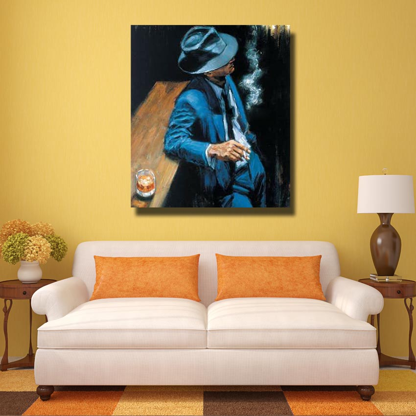 Smoking Man Wall Art Hand made Oil Painting Living Room Wall Picture ...