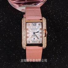 Mujeres de la marca de Relojes de Cuero Genuino Dial Square Diamantes Reloj de Vestir Casual de Las Señoras de Cuarzo Rosa de Oro Relojes de Pulsera Montre Femme