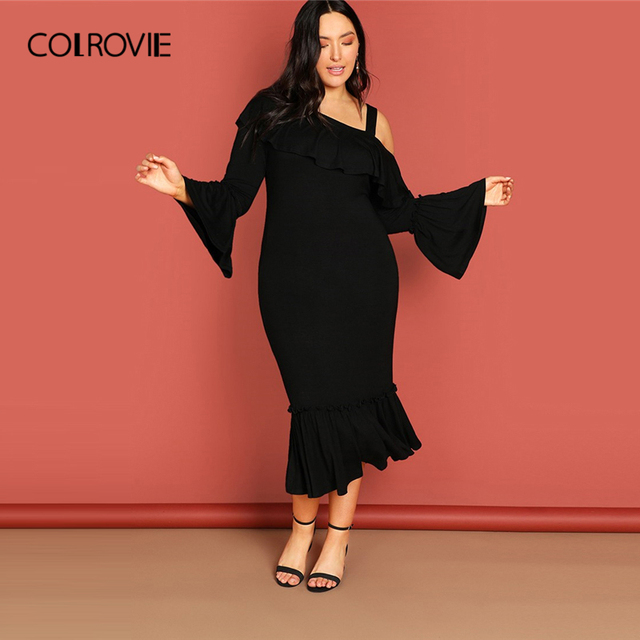 7012f795aa5 COLROVIE Plus Size Black Ruffle Cold Shoulder Asymmetrical Neck Party Dress  Women Elegant Sexy Long Dress Office Ladies Dresses