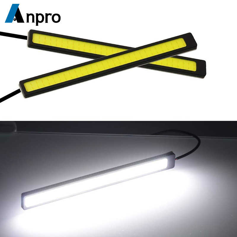 Anpro 17cm 12V COB LED DRL Driving Daytime Running Lights Strip Waterproof Car Styling LED Lamp Auto Car Working Light
