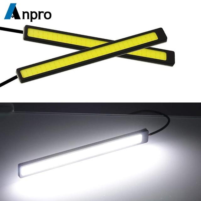 Anpro 17cm 12V COB LED DRL Driving Daytime Running Lights Strip Waterproof Car Styling LED Lamp Auto Car Working Light