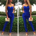 3 Color Women Solid Fashion Skinny Full Length Clubwear Party Bodycon Jumpsuit Rompers Bodysuit Deep V Jumpsuit