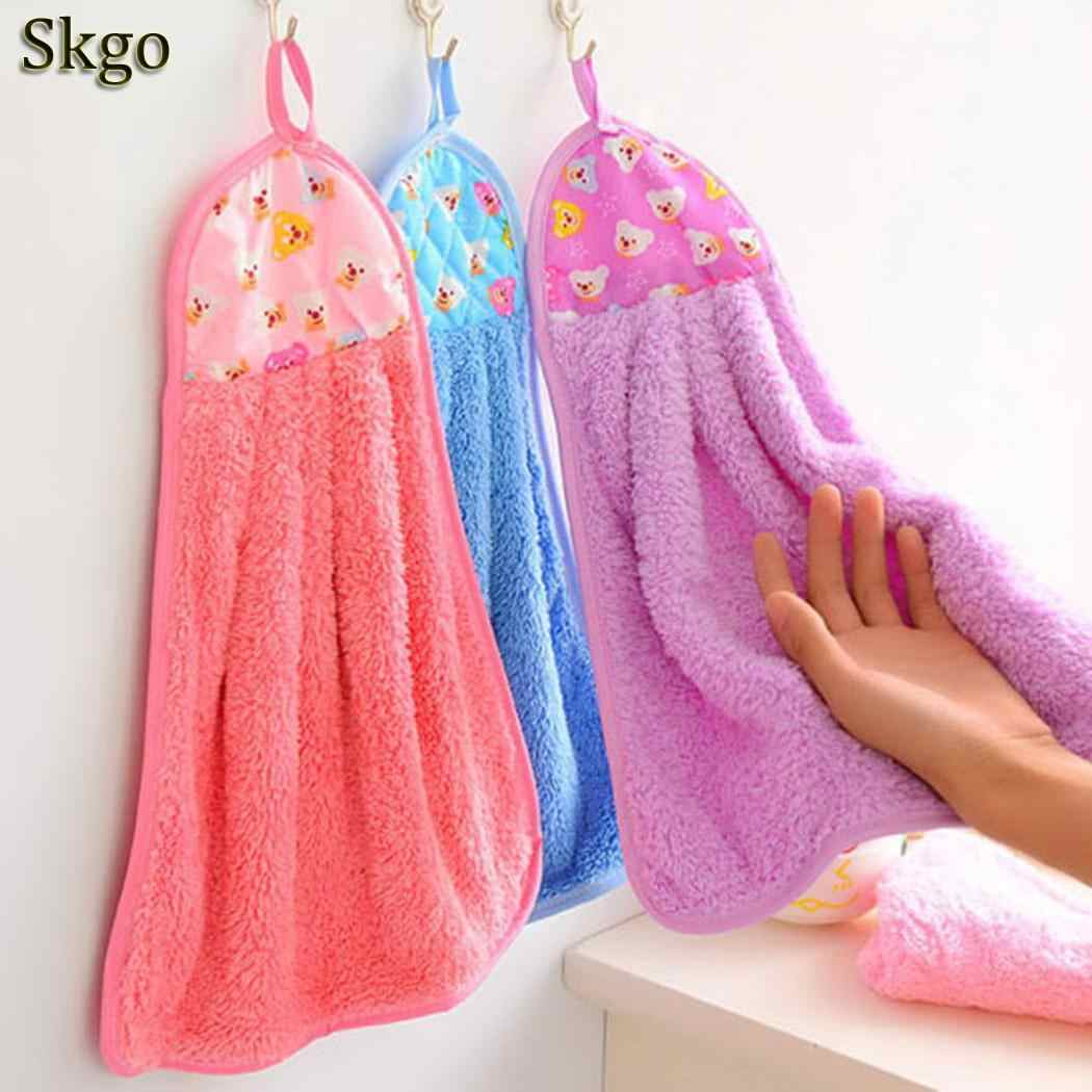 Kitchen Towel Pattern Cartoon Hanging Hand Towels Coral Velvet Absorbent  Lint-Free Cloth Non-Stick Oil Dish Washing Cloth