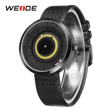 Hot sale WEIDE Fashion Casual Analog Model Black Leather Strap Man Hour Clock Quartz Military Clock Wristwatch Relogio Masculino