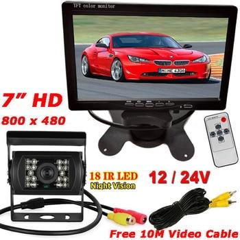 "12V-24V 7"" LCD Rear View Monitor + Waterproof IR Night Vision Reversing Parking Backup Camera 10M Cable for Bus Truck Motorho RV"