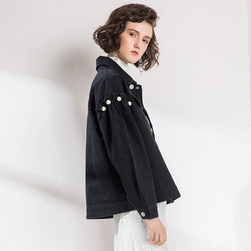 Lâche Polyvalent De Génération Hiver Perles Longues Noir Taille fit À Nouveau Vêtements Version Revers Port Femmes Manches Coréenne Feng WXxvFvwq8A