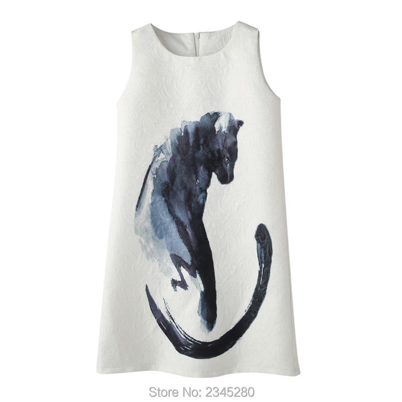 Dresses Girl Cat Print European Kid Princess Clothes Child Party Teenager Clothing Summer New Year 2017 Dress For Girls 10 Years13