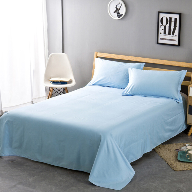 Solid Color 100 Cotton Bed Sheet Twin Full Queen King Size Plain Flat Super