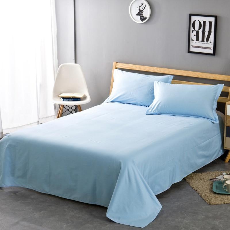 Solid Color 100% Cotton <font><b>Bed</b></font> Sheet Twin Full Queen King Size Plain Flat Sheet Super Soft Mattress Protector Sheet