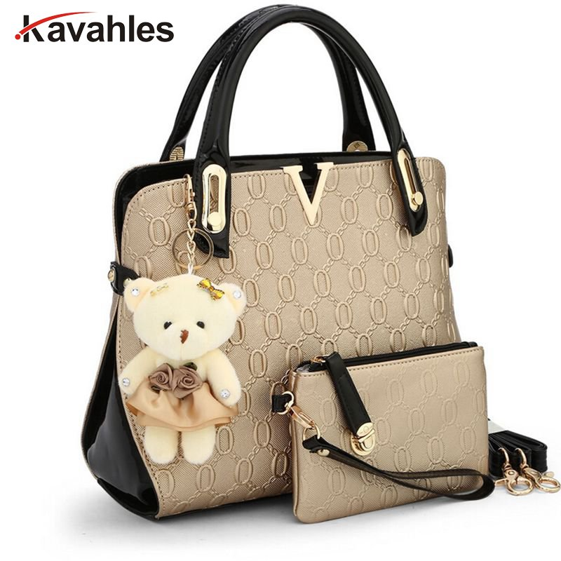 casual Embossed handbag designer handbags high quality women messenger bags lady shoulder bag 2 bags/set with bear toy  C40-281 new 2017 summer children boys sets cotton casual striped sports clothing 2 pieces boy o neck pullover shorts set kid clothes hot