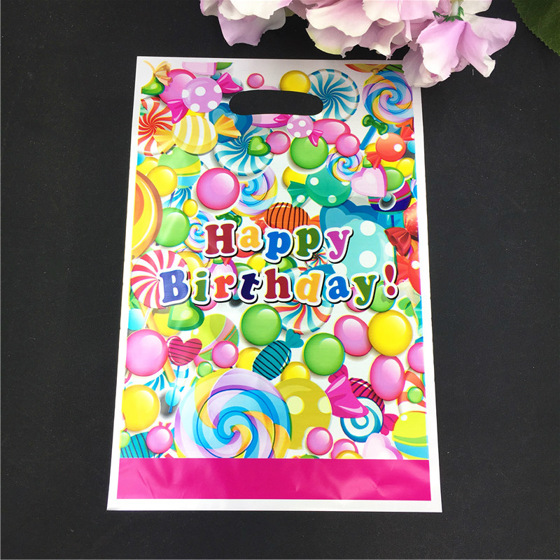 12pcs Happy birthday Candy balloon theme PE printed plastic candy gift bags,shopping bag for Kids birthday event party supplies