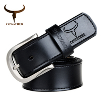 COWATHER Cow Genuine Leather Mens Belt For Men Pin Buckle Alloy High Quality New Fashion Style