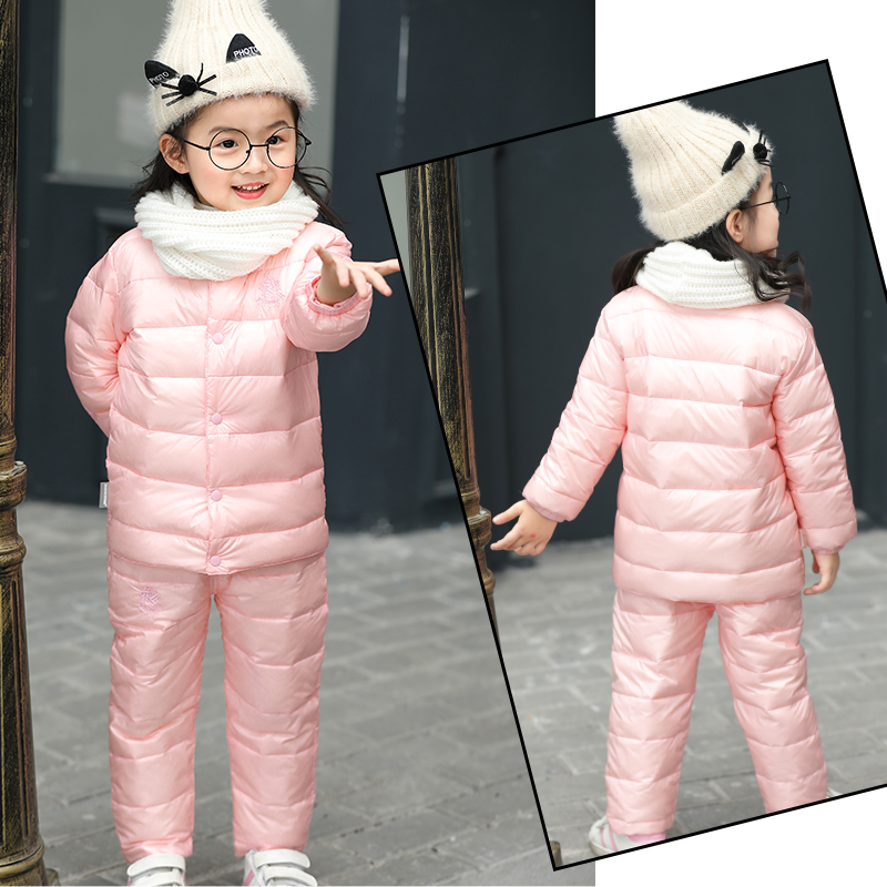 Baby Snowsuit for New Toddler Boy Girl and Boy Winter Wear Down liner Down Jacket Pants Set