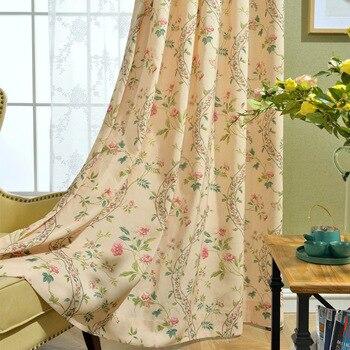 Cortina verde respetuosa con el medio ambiente, cortina de flores opacas para ventana, cortina Pastoral para habitación, 100% de algodón