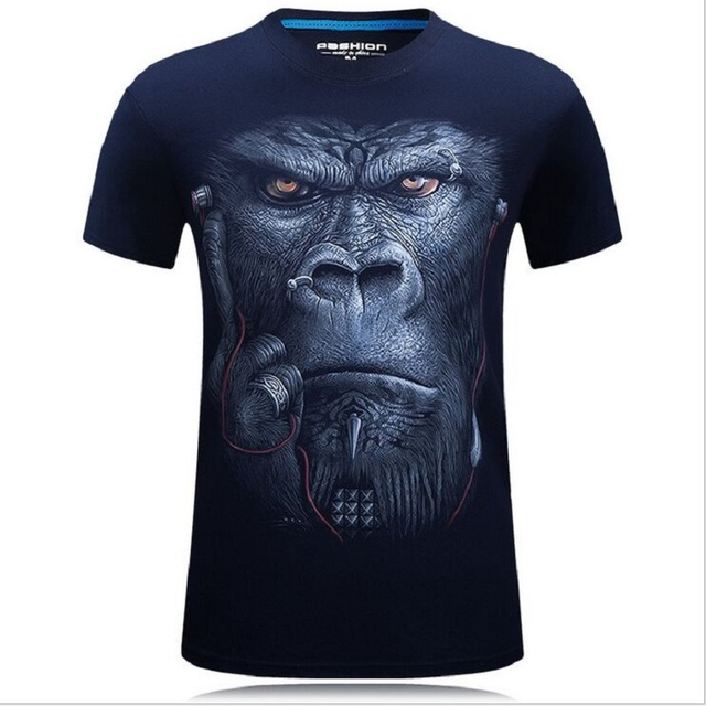 2017 summer Men's animal T-Shirt orangutan/gas monkey/Wolf 3D Printed T-Shirts Men Funny tees tops tee shirt large size 3