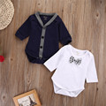 2PCS Newborn Baby Boy Bodysuits Button Cardigans Sweatshirt Style Casual Coat Little Gentleman  Jumpsuit Outfits Clothes