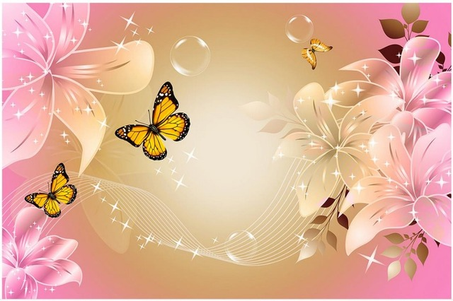 Roze Decoratie Woonkamer : Moderne minimalistische roze lelie vlinder d muurschilderingen