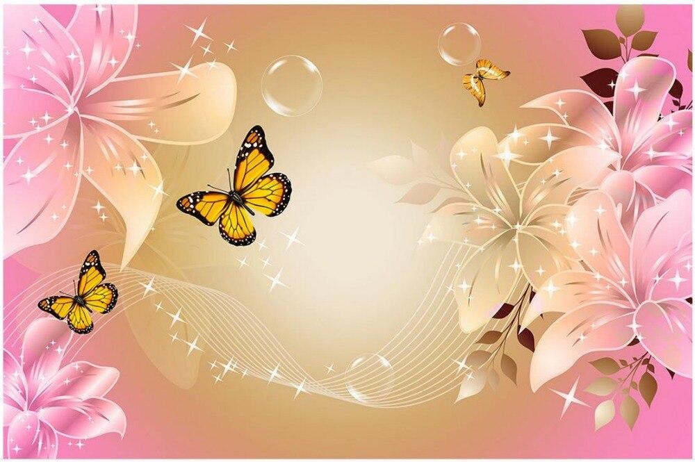 Moderno e minimalista l rio rosa borboleta 3d papel de for Papel pared personalizado foto