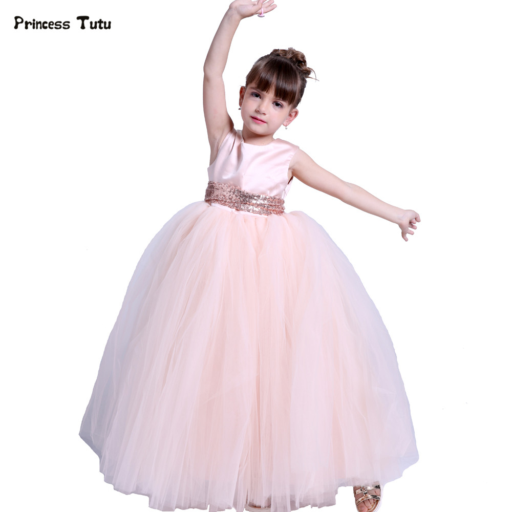 Kids Girls Wedding Flower Girl Dress Princess Party Pageant Formal Dresses Peach Sleeveless Long Tutu Dress Gown For Girls 1-14Y 2017 kids girls wedding flower girl dress princess party pageant formal dress crossed back sleeveless lace tulle dress 2 14y
