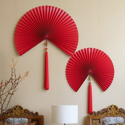 Wall Ornaments Chinese Wind Paper Folding Fan Living Room Background Soft Pendant Free Shipping In Chimes Hanging