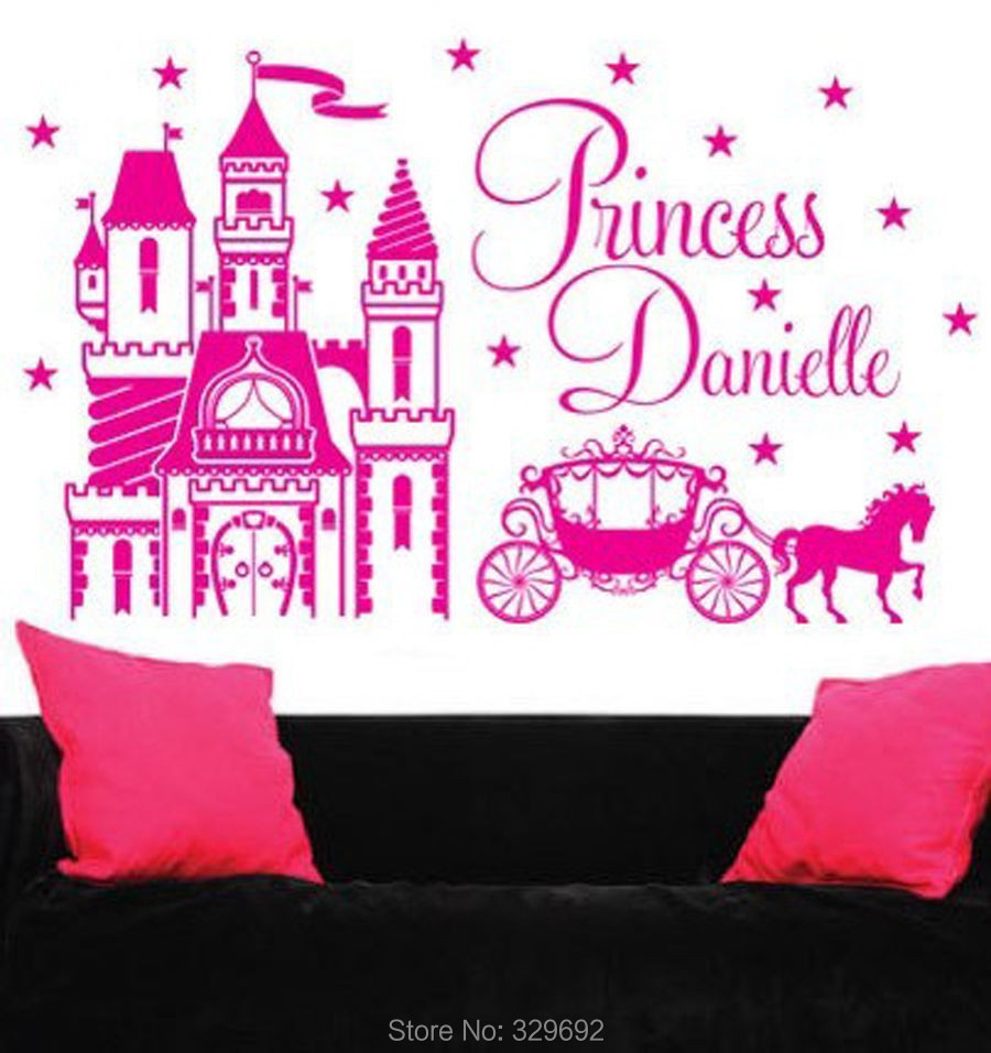 compare prices on princess girl names online shopping buy low personalized custom name princess castle carriage pony vinyl decal wall sticker home decoration girls room wall