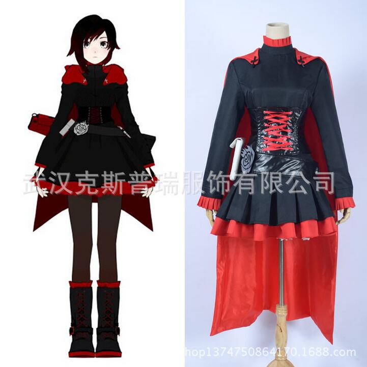 HOT NEW Anime RWBY Ruby Rose Cosplay Costume Black Dress Battle Dress Match Red Long Tippet