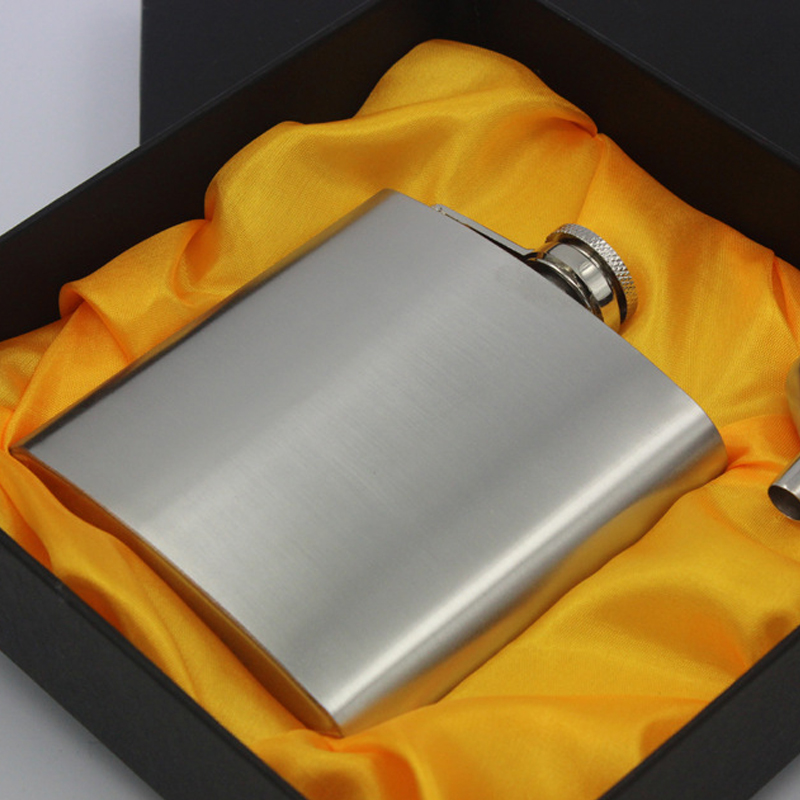 1Set 6oz Stainless Steel Hip Flask Alcohol Whisky Flagon Commerce Portable Hip Flask Personalized Set Gift Free Give 1PC Funnel