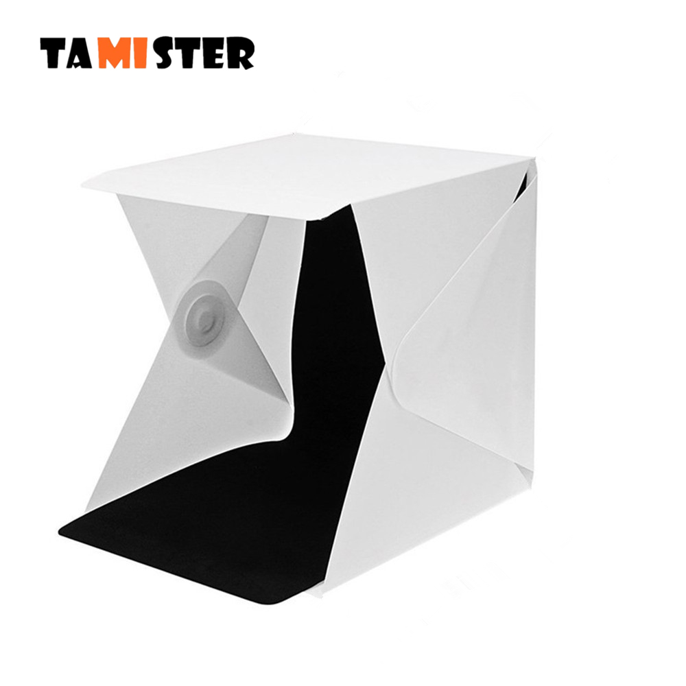 TAMISTER Photo Studio Mini Folding Lightbox Photography Softbo Panel LED Light Soft Box Photo Background Kit for DSLR Camera