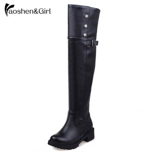 LANSHITINA Big Size 30-52 Women Flat Over Knee Boots Winter Snow Long Boot Riding Rivet Buckle Quality Leather Shoes Women Boots