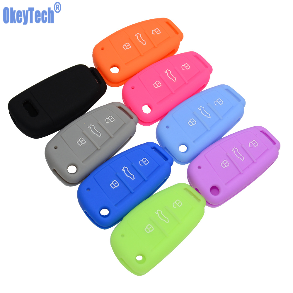 OkeyTech Silicone Car Key Case Cover For Audi A4 B6 A3 A6 C5 C6 B8 B7 Q5 B5 Q7 3 Button Remote Auto Flip Key Holder Free Shippin цена и фото