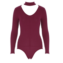 Colysmo Sexy Choker High Neck Plunge V Long Sleeve Shoulder Women Autumn Spring Ribbed Bodysuits Playsuits Rompers Jumpsuits New