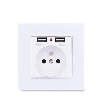1 2 3 4 gang 2 way White Tempered glass switch Light pressure Wall Switch With LED lights France Germany socket household USB 9
