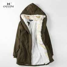 OMONSIM Korean Style 4 Colors Thick Large Hair Collar Hooded Coat Cashmere Winter Warm Long Parkas 1746