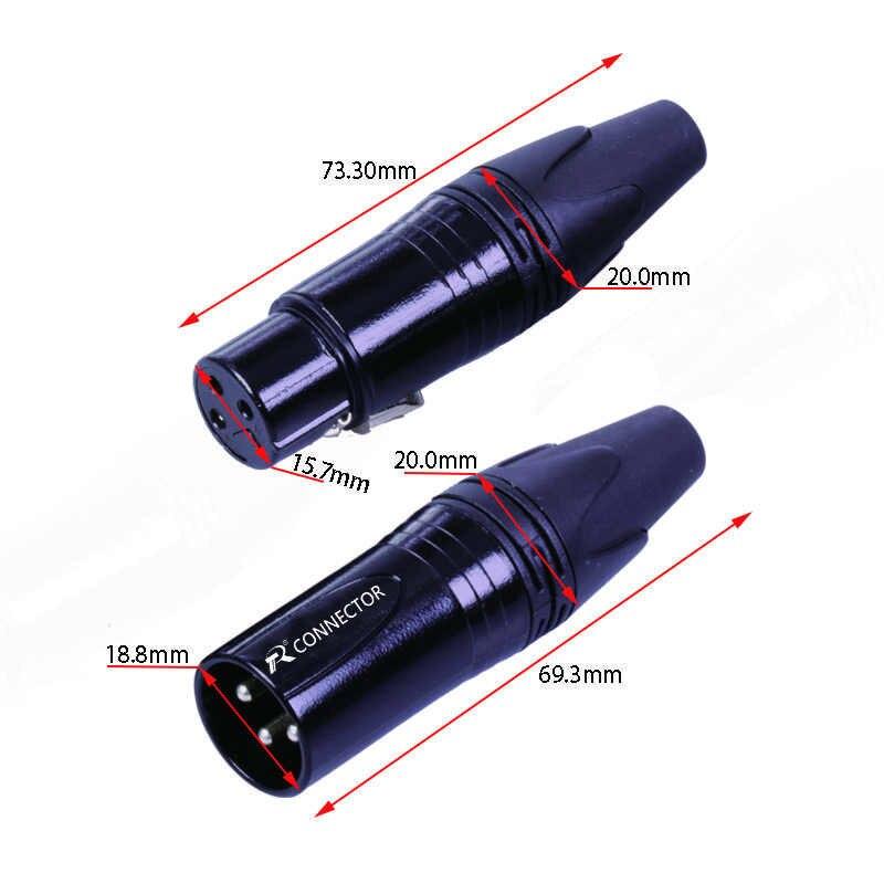 1 Conector NC3MXX y NC3FXX XLR, 3 pines, soldadura XL macho y hembra Jack conector de audio micrófono para micrófono, 7 colores disponibles