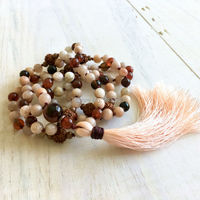Moonstone Beads Necklace Knot Stone Beads With Peach Silk Tassel Necklace N16102203