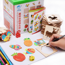 Free shipping children Wooden Drawing Toys Set, Childrens Graffiti Coloring Creative Templates Educational wood