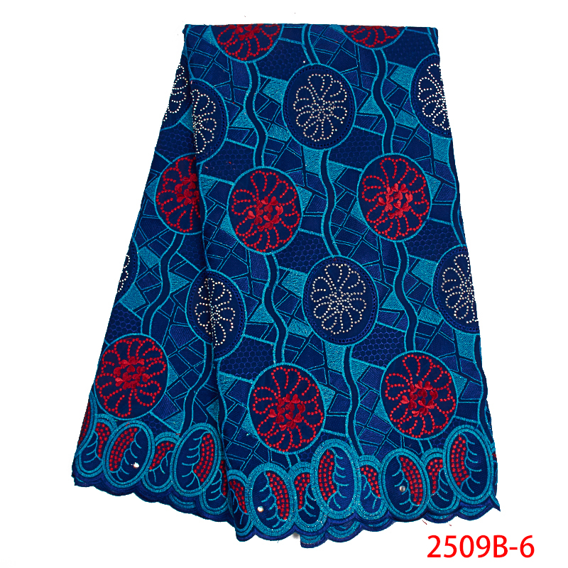 African Swiss Lace Fabric 2019 High Quality Swiss Voile Lace In Switzerland Embroidery Cotton With Stones For Dresses KS2509B-6