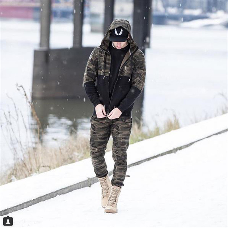 Mens Sets 2017 Gyms Mens wear suits for autumn and winter camouflage fitness of the clothing military green 1 s