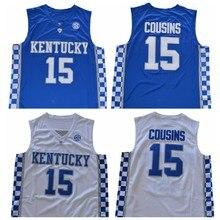 4faf38ffffa Mens Kentucky Wildcats  15 DeMarcus Cousins Jerseys Stitched Home Blue Road  White DeMarcus Cousins College Basketball Jerseys