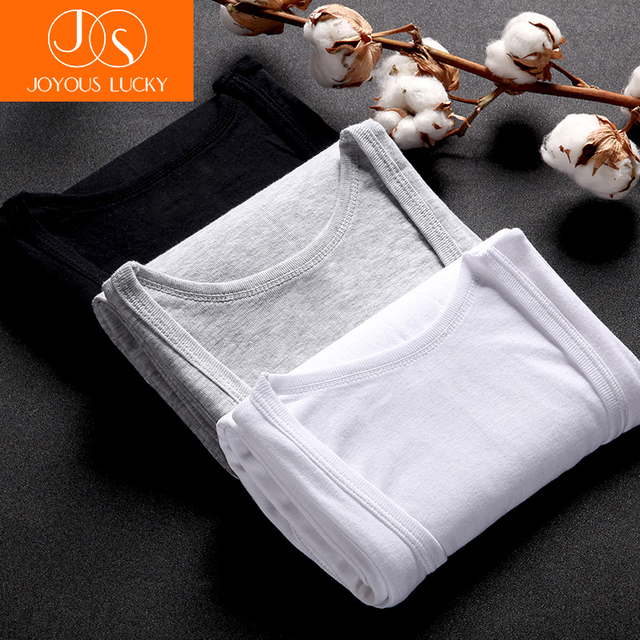 JOYOUS LUCKY Men's Undershirt Bottoming Shirt 3 Pcs Cotton Men Casual Top Shirt Soft Breathable Slim Male Undershirt Sale