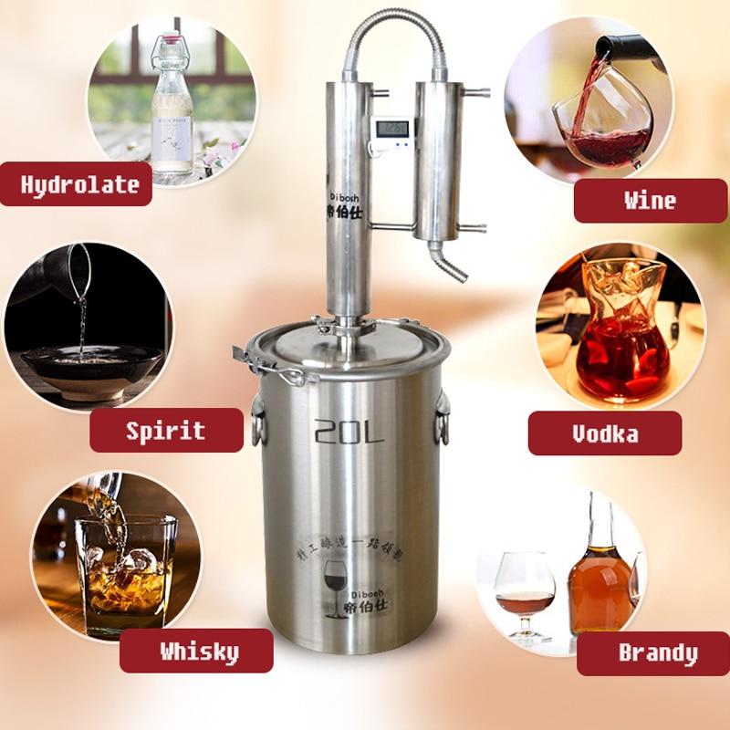 20L New 304 Stainless Moonshine Still Water Distiller Alcohol Vodka White Spirit Brew Kits Alcohol Destilador