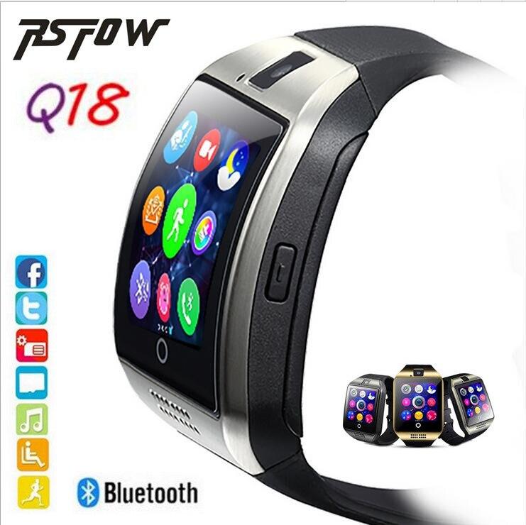 Rsfow Смарт-часы <font><b>Q18</b></font> с Камера Bluetooth наручные часы SIM карты <font><b>SmartWatch</b></font> для IOS телефонах Android Поддержка нескольких языков