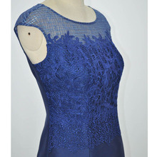 New Sleeveless Neck Slim Lace Embroidered Silk Polyester Blend Straight Dress