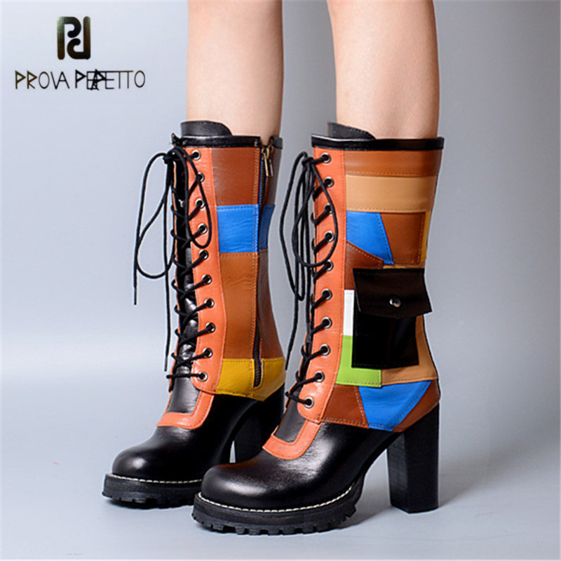 Prova Perfetto Patchwork Women Mid-calf Boots Fashion High Heel Boot Genuine Leather Lace Up Platform Rubber Botas Mujer prova perfetto winter women warm snow boots buckle straps genuine leather round toe low heel fur boots mid calf botas mujer